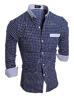 Мужской В клетку Рубашка На каждый день / Для офиса,Хлопок,Длинный рукав,Синий / Оранжевый / Белый