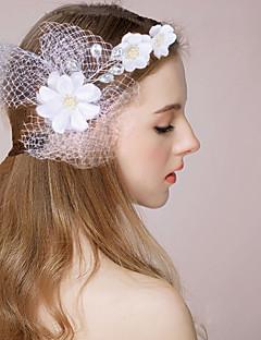 Dame / Blomsterpige Satin / Imiteret Perle Medaljon-Bryllup / Speciel Lejlighed Pandebånd / Blomster / Fuglebur Slør / Krans 1 Stykke