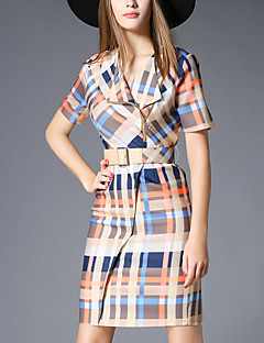 Women's Going out Street chic Bodycon Dress,Plaid Notch Lapel Above Knee Short Sleeve Yellow Polyester Summer