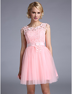 Cocktail Party Dress Ball Gown Jewel Short / Mini Lace with Appliques