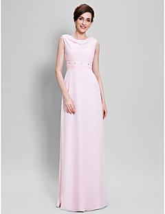 Lanting Bride Sheath / Column Mother of the Bride Dress Floor-length Sleeveless Chiffon with Beading