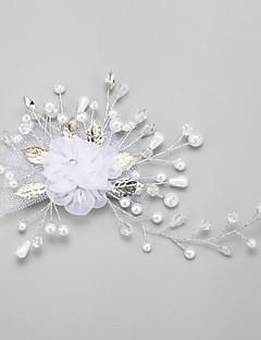 Women's Flower Girl's Alloy Imitation Pearl Chiffon Headpiece-Wedding Special Occasion Flowers 1 Piece