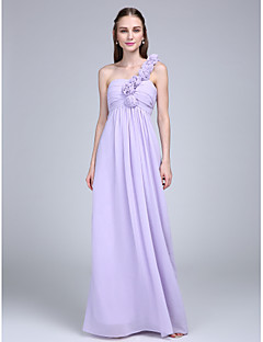 Floor-length Chiffon Bridesmaid Dress - Sheath / Column One Shoulder with Flower(s) / Ruching