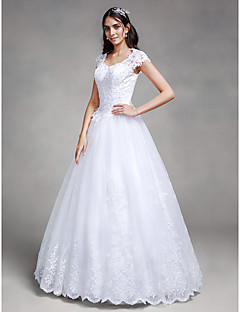 Ball Gown Wedding Dress Floor-length Queen Anne Satin / Tulle with Appliques / Beading