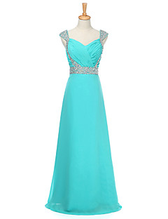 Floor-length Chiffon Bridesmaid Dress A-line Sweetheart with Beading