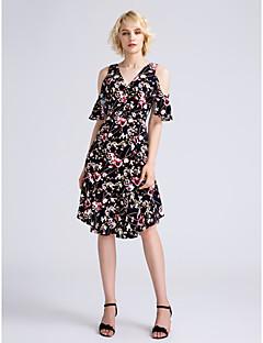 LAN TING BRIDE Knee-length V-neck Bridesmaid Dress - Pattern Dress Short Sleeve Chiffon