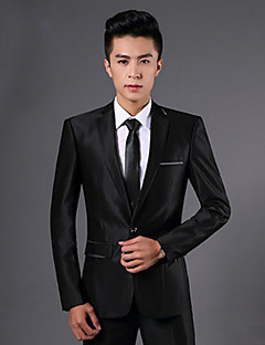 Obleky Slim Otevřené Jednořadé s jedním knoflíkem Polyester Jednobarevné 2 ks Černá Rovné s klopou Dvojitý (Dva) Černá Dvojitý (Dva) Kapsy