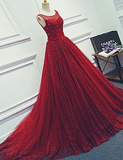 Formal Evening Dress Ball Gown Scoop Court Train Tulle with Beading / Sash / Ribbon