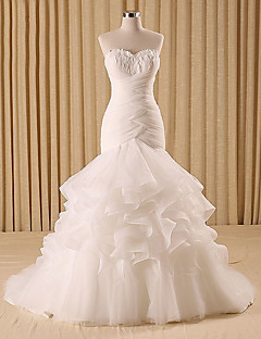 Trumpet / Mermaid Wedding Dress Sweep / Brush Train Sweetheart Organza / Tulle with Criss-Cross / Feather / Fur