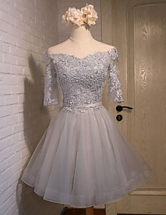 Cocktail Party Dress A-line Off-the-shoulder Knee-length LaceSatin Silk Tulle withBeading Flower(s) Lace RufflesSash