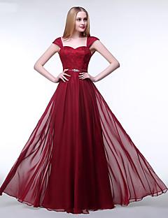 포멀 이브닝 드레스 A-라인 스트랩 바닥 길이 쉬폰 / 레이스 와 비즈 / 레이스 / 허리끈/리본