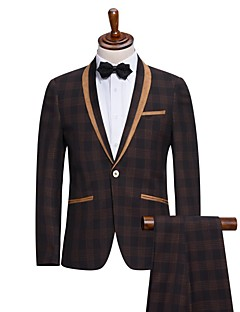 Suits Slim Fit Shawl Collar Single Breasted One-button Viscose Checkered / Gingham 2 Pieces Gray Straight Flapped None (Flat Front) Gray