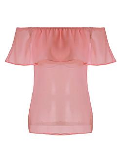 Tee-shirt Aux femmes,Couleur Pleine Décontracté / Quotidien Sexy Eté Manches Courtes Bateau Rose / Blanc Coton Fin