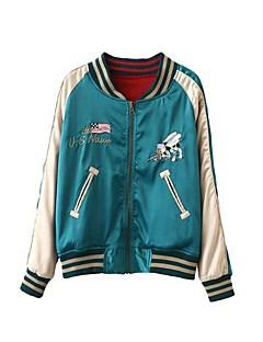 Damen Einfach Lässig/Alltäglich Bomberjacke,Ständer Frühling Sommer Herbst Lange Ärmel Standard Polyester Stickerei