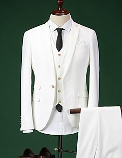 Suits Tailored Fit Notch Single Breasted One-button Cotton Blend Solid 3 Pieces  Straight Flapped