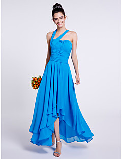 A-Line One Shoulder Asymmetrical Chiffon Bridesmaid Dress with Draping Ruching by LAN TING BRIDE®