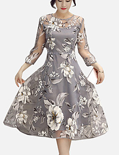 Women's Casual/Daily / Plus Size Street chic A Line Dress,Floral Round Neck Knee-length Long Sleeve Gray Polyester Spring