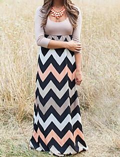 Women's Beach Loose Dress,Striped / Print Round Neck Maxi Long Sleeve Gray / Green Cotton Fall