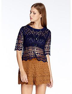heartsoul naisten menossa yksinkertainen kesä t-paita, kiinteä pyöreä kaula ½ pituus hihan violetti polyesteri ohut