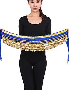 ベリーダンス ベリーダンス用ヒップスカーフ 女性用 ダンスパフォーマンス ナイロン ビーズ ゴールドコイン 1個 ノースリーブ ローウエスト ヒップスカーフとベルトは含まれていません.