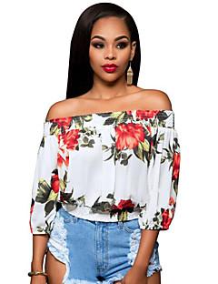 Vrouwen Vintage Zomer T-shirt,Casual/Dagelijks Bloemen Boothals Driekwart mouw Blauw / Rood / Groen Polyester Medium