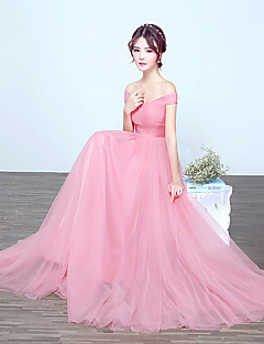 Floor-length Tulle Bridesmaid Dress - A-line Off-the-shoulder with Draping