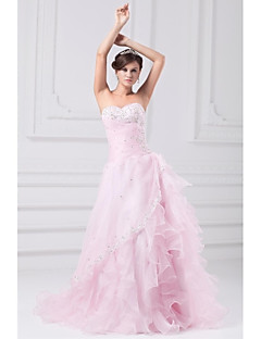 A-line Wedding Dress Wedding Dress in Color Sweep / Brush Train Strapless Organza with Appliques Beading