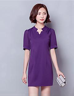 Damen A-Linie Kleid-Lässig/Alltäglich / Übergröße Einfach Solide V-Ausschnitt Mini Kurzarm Schwarz / Grau / Lila Polyester Sommer