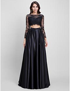 Linha A Bateau Neck Cauda Escova Renda Cetim Baile de Fim de Ano Evento Formal Vestido com Renda de TS Couture®