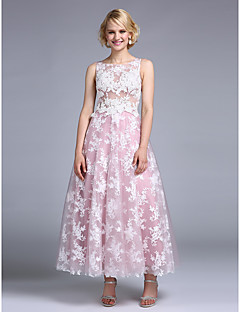 Cocktail Party / Company Party Dress A-line Jewel Tea-length Lace / Tulle with Embroidery / Lace