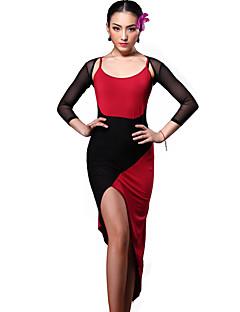 Latin Dance Dresses Women's Training Rayon Draped 1 Piece Black / Burgundy