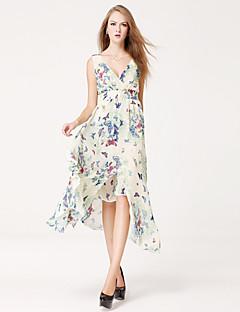 Women's Party/Cocktail Sexy Sheath / Chiffon Dress,Animal Print Deep V Maxi Sleeveless Blue / Pink Cotton