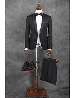 2017 Suits Standard Fit Notch Single Breasted One-button Polyester Solid 2 Pieces Black Straight Flapped