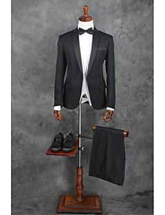 2017 костюмы стандарт подходят вырезы однобортный одной кнопки полиэфирных твердые 2 шт черные прямые захлопали