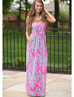 Women's Going out Boho Sheath Dress,Print Strapless Maxi / Above Knee Sleeveless Pink Spandex Summer