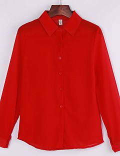 Vrouwen Eenvoudig Lente / Zomer / Herfst Overhemd,Casual/Dagelijks Effen Overhemdkraag Lange mouw Blauw / Rood / Wit / Zwart Polyester Dun