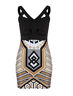 Women's Vintage Printed Bandage Party Dress