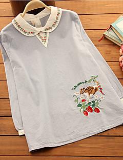 Maternity Shirt Collar Flower Blouse,Cotton Long Sleeve