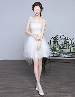 Cocktail Party Dress A-line One Shoulder Knee-length Lace / Tulle with Cascading Ruffles