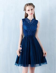칵테일 파티 드레스 A-라인 하이 넥 숏 / 미니 튤 와 레이스