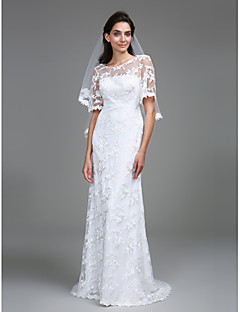 Lanting Bride Sheath / Column Wedding Dress Floor-length Scoop Lace with Lace