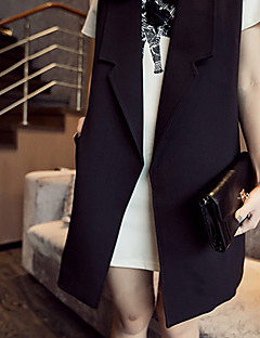 Women's Casual/Daily Street chic Spring / Fall Jackets,Solid Shirt Collar Sleeveless Black Cotton Medium