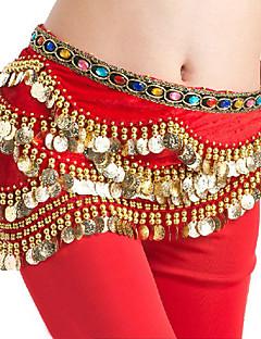 Břišní tanec Šátky na břišní tance Dámské Výkon Lycra Zlaté mince Jeden díl Bez rukávů Přírodní Šátek přes boky 155cm