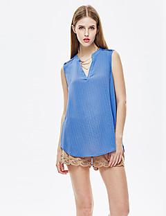 heartsoul Frauengehen einfach Sommer T-Shirt, fest mit V-Ausschnitt ärmellos blau Polyester dünn