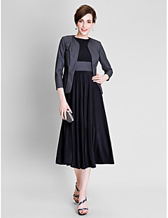 Lanting Bride A-line Mother of the Bride Dress Tea-length 3/4 Length Sleeve Polyester / Jersey with