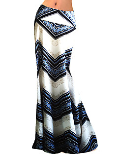 Women's Striped White Skirts,Plus Size / Sophisticated Maxi