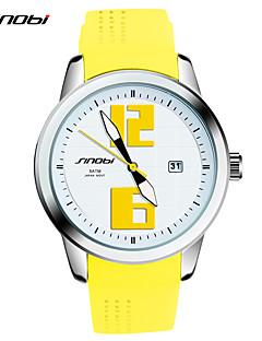 Damen Modeuhr Armbanduhren für den Alltag Quartz Wasserdicht Schockresistent Silikon Band Vintage Gelb Marke SINOBI