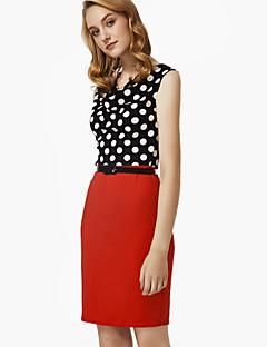 Women's V Neck Polka Dot Print Patchwork Slim Dress