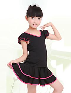 Children's Training Milk Fiber Ruched 2 Pieces Short Sleeve Natural Top / Skirt Children's Dance Clothes