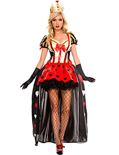 Cosplay Costumes Queen Fairytale Movie Cosplay Red Patchwork Dress Headpiece Gloves Cloak Halloween Christmas New Year Female Polyester